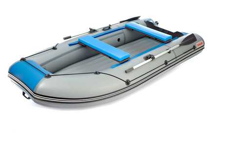 Лодка ПВХ 4х-м.,350х156, г/п 450кг, баллон 430мм, до 15л.с.,малокилева НДНД серый/ Zefir 3500 LT