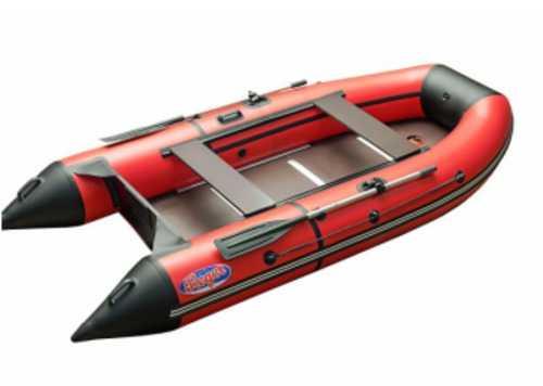 Лодка ПВХ 4м., 350х160, г/п 500кг, баллон 430мм, до 18лс, пол пайолы компл.HunterKeel 3500 красн/чер