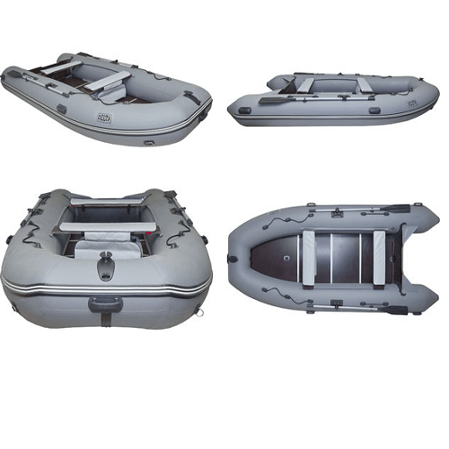 Лодка 390 ПВХ 4х м., 390х185, г/п 450кг, баллон 470мм, до 25лс с полом Дельта 390 СК (киль) серый