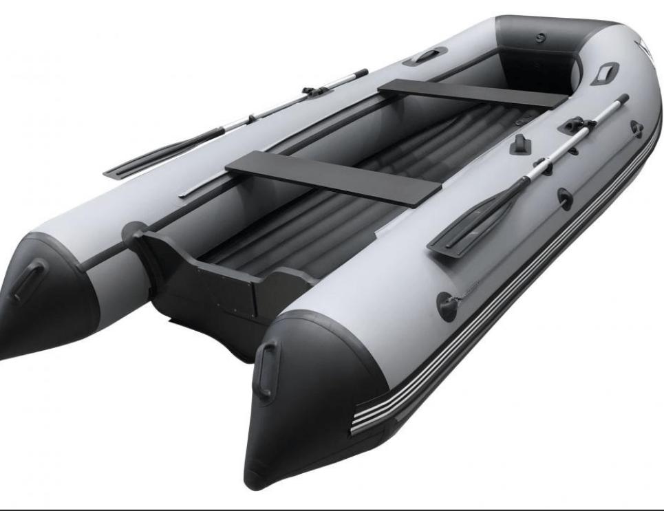 Лодка 420 ПВХ 6х м., 420х19, г/п 850кг, баллон 500мм, до 30л.с, НДНД ORCA 420 киль Серо/черный